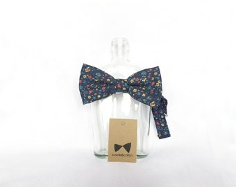 Pip 05 - Navy Floral Men's Pre-Tied Bow Tie or Self-Tied Bow Tie