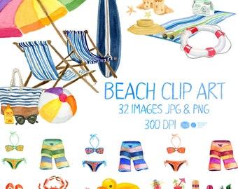 Watercolor  Beach Clipart, Summer Clip Art,  Beach Clip Art, Summer Clipart, Beach Clipart, Vacation Clipart, Watercolor Clipart