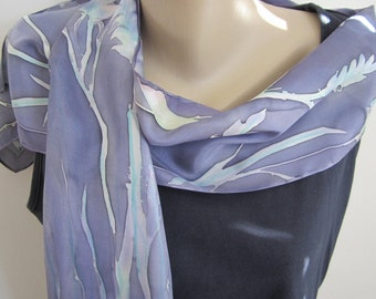 Natural Stems and Branches on Hand Painted Silk - one of a kind Lavender