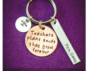Personalized Teacher Keychain - Custom Name Keychain - Teacher Appreciation Gift - Thank You Gift - Cute Gift -Gift for Her -Mom Gift