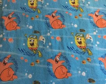 Spongebob Squre Pants Blue Twin Size Flat Sheet / Fabric