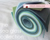 9x12 Wool Felt Sheets - The Sea Glass Collection - 8 Sheets of Felt
