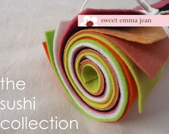 9x12 Wool Felt Sheets - The Sushi Collection - 8 Sheets of Felt (great for making a sushi baby costume)