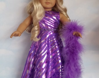 18 inch doll clothes - Purple Gown and Boa - #244 - FREE SHIPPING