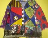SALE Hand painted upcycled denim jacket plus size