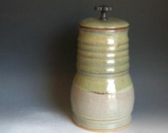 Hand thrown stoneware pottery lidded jar      (LJ-21)