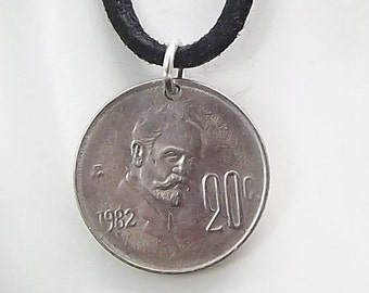 Mexico Coin Necklace, 20 Centavos, Coin Pendant, Leather Cord, Handmade, Mens Necklace, Womens Necklace, 1982