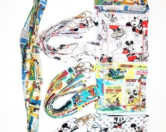 Disney Mickey Mouse Lanyard with ID Holder/Coin Purse,Your Fabric Choice, Mickey Purse, Minnie Mouse,Donald Duck,Pluto,Zippered Closure