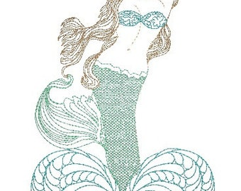 Quilted Mermaid Embroidery Design