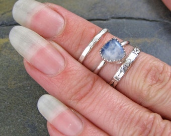 Blue Moonstone Silver Stack Band Rings - Sri Lanka Moonstone Pear Solitaire Set -  Size 6