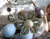 BRACELET - vintage haskell style flower rhinestone cross czech glass pearl spring jewelry devotional, the french circus by robyn parrish