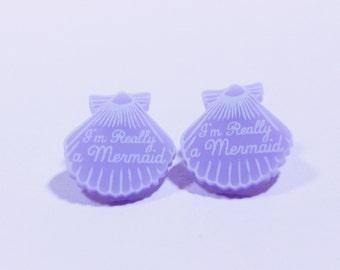 Purple handmade earrings.Mermaid Jewelry. gifts for her. purple earrings. gifts for her. stud earrings. beach jewelry. gifts for mermaids
