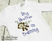 Big Brother in Training Monkey, Shirt or Hand Towel, Appliqued, Short or Long Sleeve Shirt,  Totally Custom