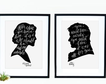 Pride and Prejudice Facing Cameos Print Set - Elizabeth Bennett and Mr. Darcy Quote Calligraphy Silhouette Cameo Print