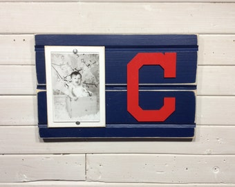 "Cleveland Indians picture frame holds 4""x6"" photo, decor"