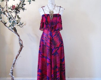vintage 70s 1970s midi dress semi sheer hanky hem Ikat print design purple pink blue hippie boho goddess festival Spring Summer
