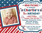 Patriotic Birthday or Picnic BBQ Invitation