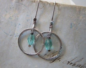 handmade earrings - sterling silver and faceted aqua glass beads - hand forged sterling, long ear wires