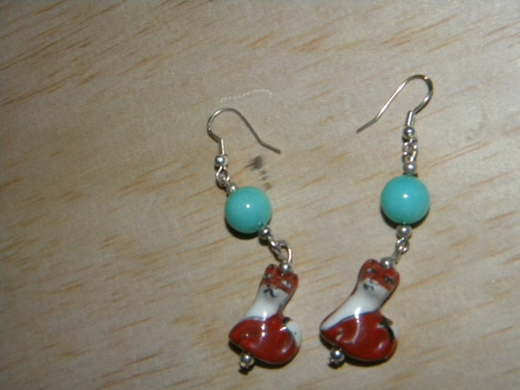 Turquoise What Does the Fox Say Ceramic Earrings