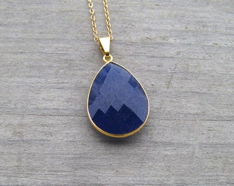Genuine Sapphire Necklace, 24K Vermeil Bezel Set Stone, Navy Blue Sapphire Pendant, September Birthstone, Layering Necklace, Large Stone