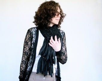 Long Black Chunky Crochet Scarf with Fringe Ends - Made with Frayed Cotton Fabric Strips