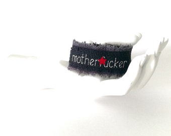 motherf*cker // cuss word bracelet // funny cross stitch // f*ck // cross stitch cuff // black cuff // curse word jewelry // punk arm cuff
