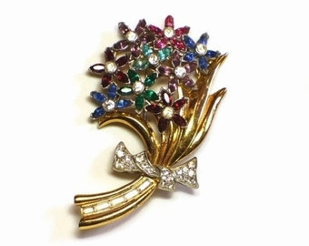 Rhinestone Flower Gold Bouquet Brooch in Pave Set Baguette & Chaton Cut Crystals in Floral Motif - Late Deco 30's Figural Costume Jewelry