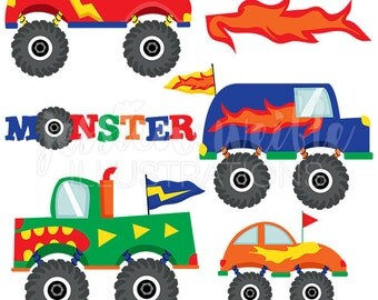 Monster Trucks Cute Digital Clipart for Commercial and Personal Use, Big Truck Clipart