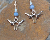Blue Longhorn Steer Sterling Silver Earrings, Longhorn Steer Earrings, Blue Longhorn Sterling Earrings, Blue Sterling Cow Earrings