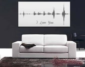 5th Anniversary Gift Voice Wave Print I Love You Personalized Voice Message - Multiple Sizes Available