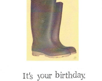 Let's Get Sloshed Birthday Card   Wellington Rubber Boots Funny Drinking Beer Alcohol Humor Fall Men Women