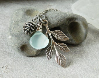 Gemstone, Silver Leaf & Pinecone Necklace Leaf Pendant Mint Chalcedony Pendant Wire Wrap Briolette Tree Leaf Branch Turquoise Wedding Gift