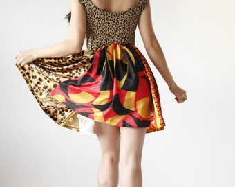 Leopard Print Party Dress - Red Yellow and Black Retro Mini Dress - Eco Friendly Womens Apparel by Tammy Jo Fashion