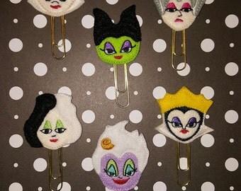 Disney Villain theme Ursula, Maleficent, Cruella, Evil Queen, Queen of Hearts, or Evil Stepmother planner paper clip