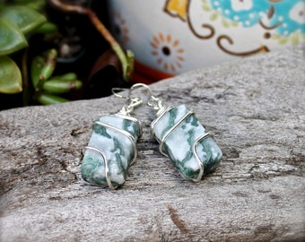 Moss Agate Earrings - Green Natural Stone Jewelry - Boho Chic - Wiccan Jewelry - Gypsy Earrings - Bohemian Jewelry - Indie Gemstone Earrings