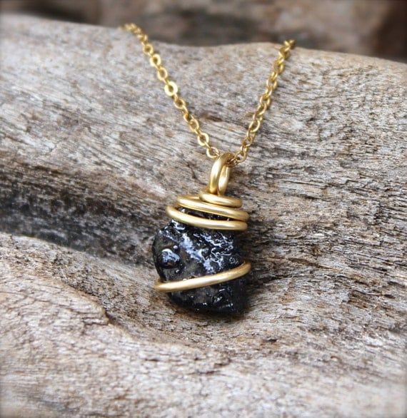 Rough Sapphire Necklace Raw Stone Jewelry Dark BlueUnpolished Sapphire Necklace