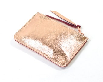 Metallic Rose Gold Copper Leather Zip Pouch Purse Wallet Handmade