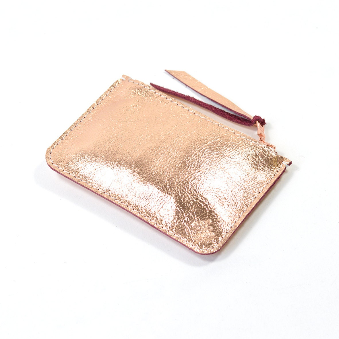 metallic rose gold copper leather zip pouch purse wallet. Black Bedroom Furniture Sets. Home Design Ideas