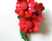 Vintage Bright Red Enamel Flower Pin Anemone Poppy Brooch With A Hint Of Pink