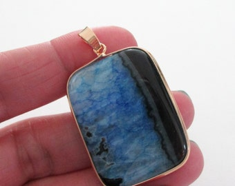 Blue Black Agate Pendant - Gold Frame Bezel Slice With Bail - Smooth Double Sided -  Rectangle Pendant - DIY Jewelry - With/Without Chain