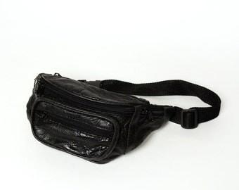 Vintage Black 5-Pocket Fanny Pack with Adjustable Nylon Strap
