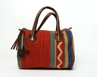 Vintage Kilim Purse with Awesome Tassle and Removable Leather Strap