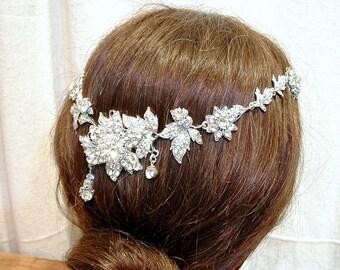 OOAK Bridal Hair Vine, Vintage Rhinestone Flower & Leaf Wedding Halo Crystal Wreath Statement Headpiece Art Nouveau Back of Head Hairpiece