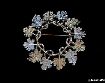Vintage Brooch Sarah Coventry Garland Silver Gold Leaves Signed Coventry Jewelry