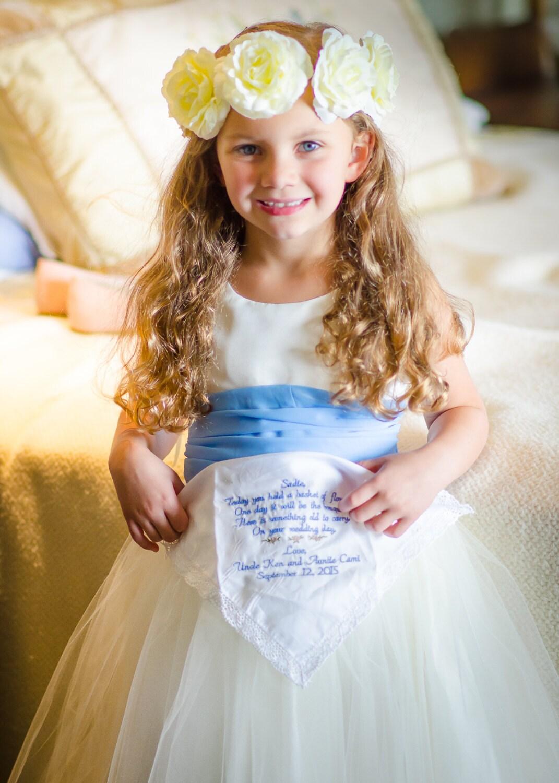 Embroidered Wedding Handkercheif FLOWER GIRL Weddng Gift