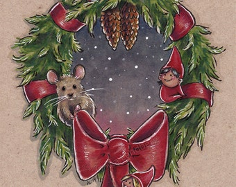 Holiday wreath - Original Marker illustration on tanned paper