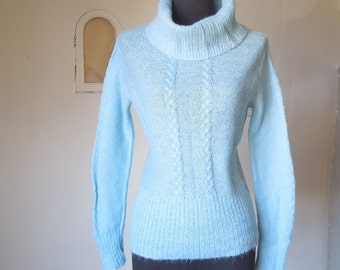 SO LOVELY... Vintage Baby Blue Turtleneck Sweater, 1970's, Fitted, Size Small