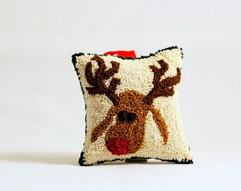 Ready to Ship! Rudolph the Red Nosed Reindeer Christmas Ornament. Punch needle Embroidery. Red, Green, Gold, Cream. Balsam Fir Sachet.