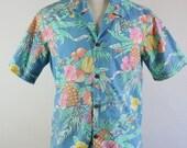 SALE - Rare Vintage Aloha Blue Pastel Floral Hawaiian Shirt For People Magazine - Mens Size Medium