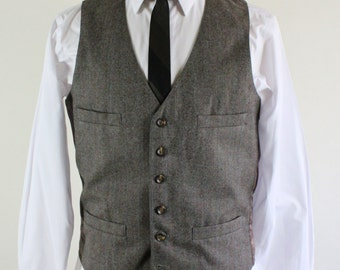 Mens Vest. Wool Suit Vest. Light Brown Suit Vest. Vintage. Small. GOGOVINTAGE